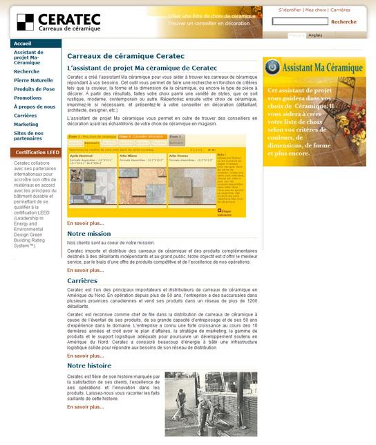Voici la page d'accueil du site de Ceratec